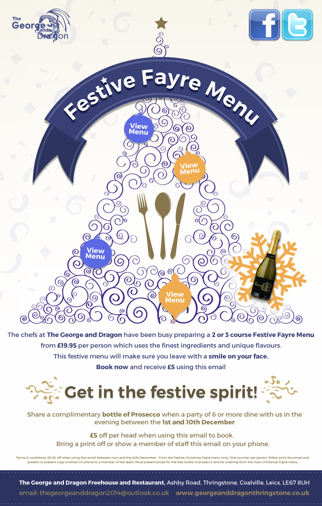 George & Dragon festive menu